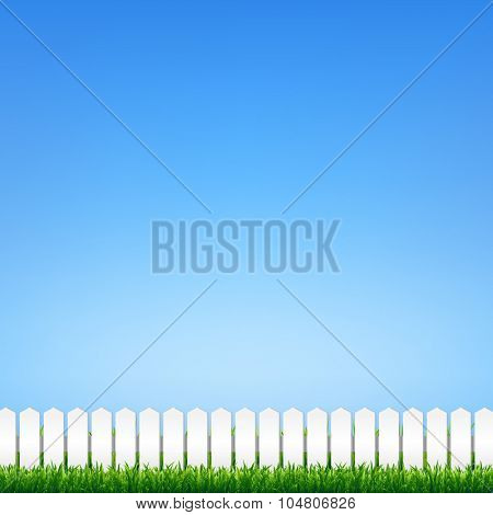 Green Grass And Blue Sky With Gradient Mesh, Vector Illustration