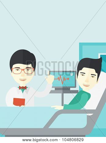 A smiling Asian doctor visits a patient lying on hospital bed  vector flat design illustration. Vertical layout with a text space.