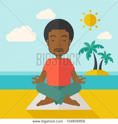 An African American man meditating in lotus pose on the beach vector flat design illustration. Square layout.