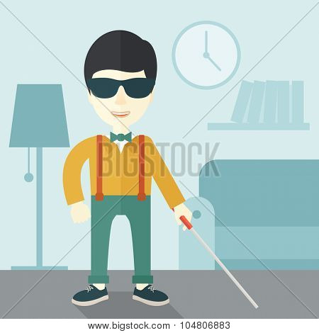 An Asian blind man in dark glasses standing with walking stick inside the house vector flat design illustration. Square layout.