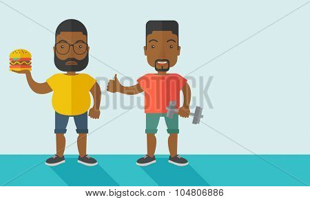 Thick African American man with beard standing with hamburger while slim African American man standing with dumbbell vector flat design illustration. Lifestyle concept. Horizontal layout with a text