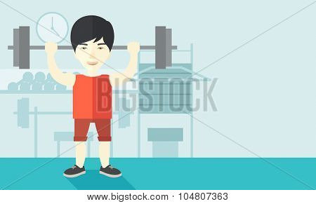 An Asian man lifting a barbell inside the gym vector flat design illustration. Sport concept. Horizontal layout with a text space.