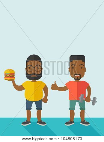 Thick african-american man with beard standing with hamburger while slim african-american man standing with dumbbell vector flat design illustration. Lifestyle concept. Vertical layout with a text
