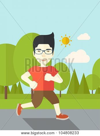An asian man in glasses jogging in the park vector flat design illustration. Lifestyle concept. Vertical layout with a text space.
