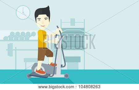 An asian man exercising on a elliptical machine in the gym vector flat design illustration. Horizontal layout with a text space.