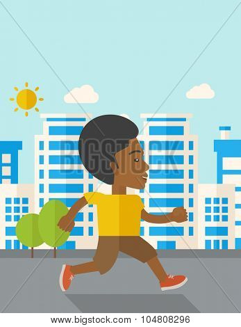 An african-american man jogging on street vector flat design illustration. Lifestyle concept. Vertical layout with a text space.