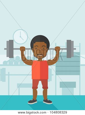 An african-american man lifting a barbell inside the gym vector flat design illustration. Sport concept. Vertical layout with a text space.