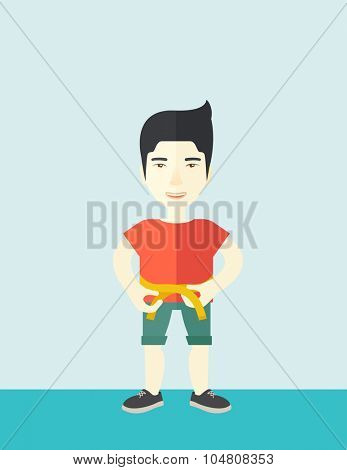 A happy asian man measures his waist vector flat design illustration. Sport concept. Vertical layout with a text space.