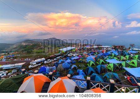 Point Of Camping View Of People Are Camping And Watching he sunset at phuthapboek in petchaboon
