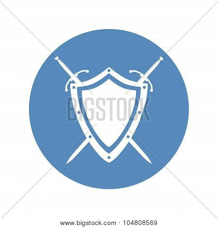Shield And Two Crossed Swords Under It Icon