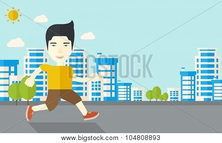 An asian man jogging on street vector flat design illustration. Lifestyle concept. Horizontal layout with a text space.