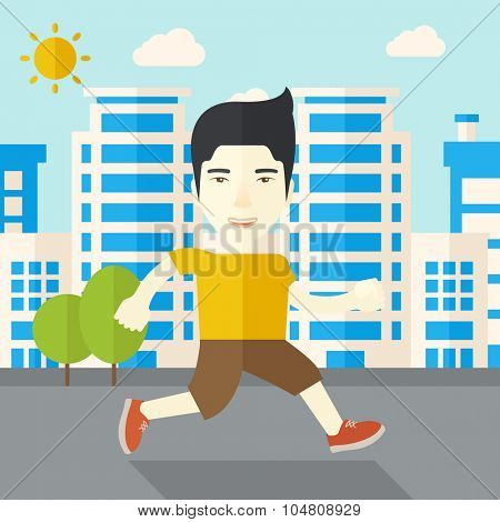 An asian man jogging on street vector flat design illustration. Lifestyle concept. Square layout.