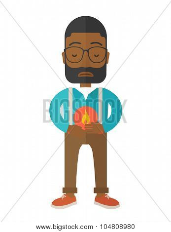 A sick african-american man with heartburn holding hands on his stomach vector flat design illustration isolated on white background. Vertical layout.