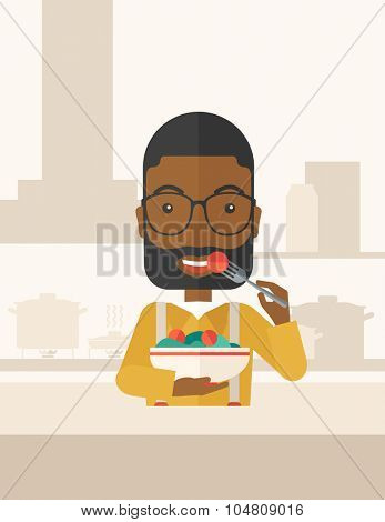 A smiling african-american man with beard in glasses eating salad vector flat design illustration. Healthy concept. Vertical layout with a text space.