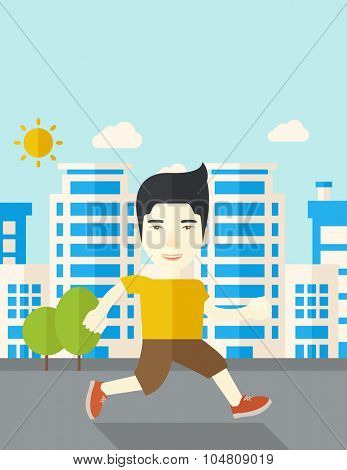 An asian man jogging on street vector flat design illustration. Lifestyle concept. Vertical layout with a text space.