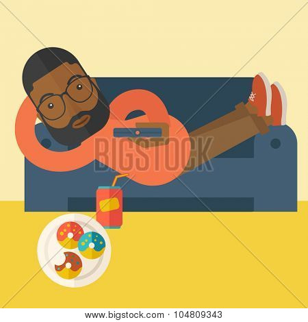 An african-american man with beard lying on a sofa holding a remote with three donuts on the plate and soda on the floor vector flat design illustration. Square layout.