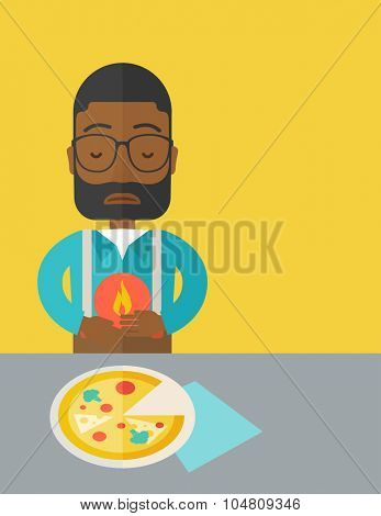 A sick african-american man with heartburn due to pizza holding hands on his stomach vector flat design illustration. Vertical layout with a text space.