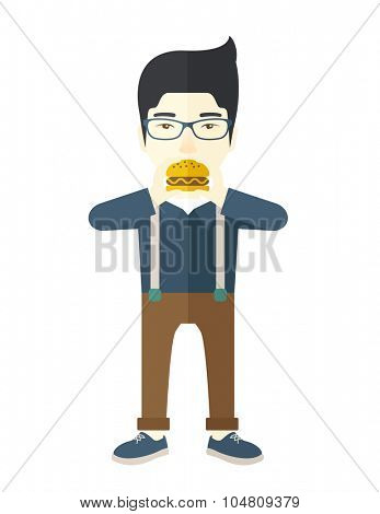 A happy asian man in glasses eating hamburger vector flat design illustration isolated on white background. Vertical poster layout.