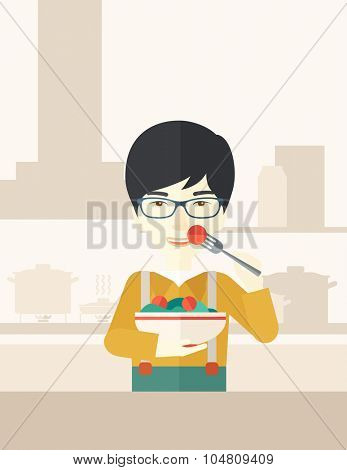 A smiling asian man in glasses eating salad vector flat design illustration. Healthy concept. Vertical poster layout with a text space.