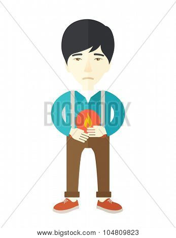 A sick asian man with heartburn holding hands on his stomach vector flat design illustration isolated on white background. Vertical poster layout.