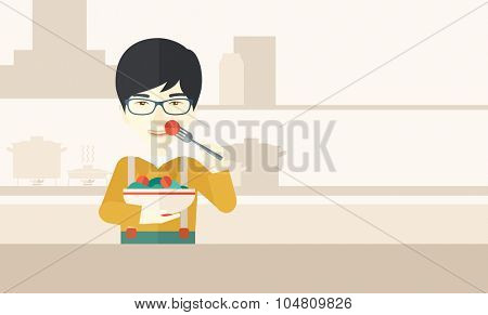 A smiling asian man in glasses eating salad vector flat design illustration. Healthy concept. Horizontal layout with a text space for a social media post.
