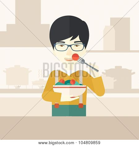 A smiling asian man in glasses eating salad vector flat design illustration. Healthy concept. Square layout.