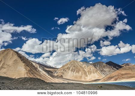 Himalayas Range And Pangong Tso Lake-ladakh,india