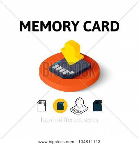 Memory card icon in different style