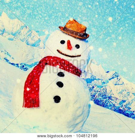 Snowman Outdoors White Scenery Christmas Celebration Concept