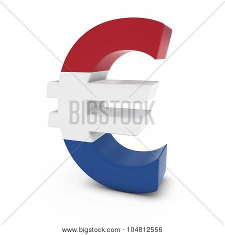 Euro Symbol Textured With The Dutch Flag Isolated On White Background