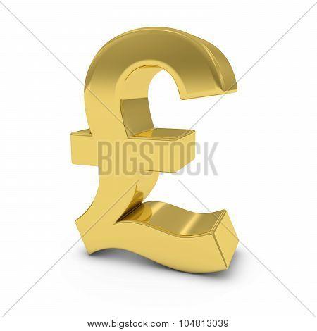 Shiny Gold Pound Symbol Isolated On White Background