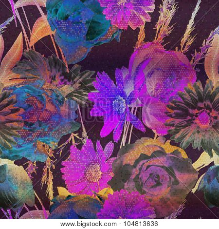 art vintage floral seamless pattern with red purple, pink, blue, orange roses, peonies, lilies, asters, gerbera and leaves on dark background; halftone effect