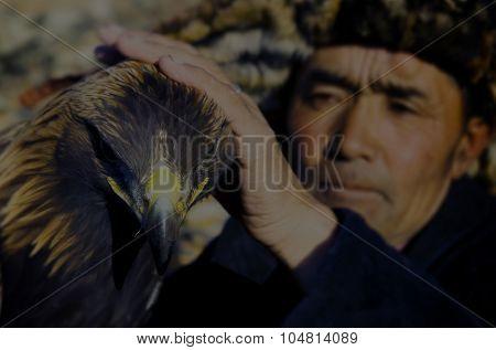 Mongolian Man Trained Eagle Kazakh Olgei Western Concept