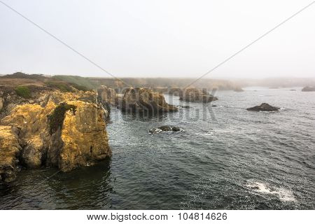 Fort Bragg, the coast in the fog, California