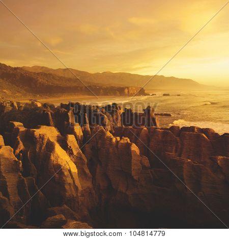 Coastline Punakaiki New Zealand Destination Concept
