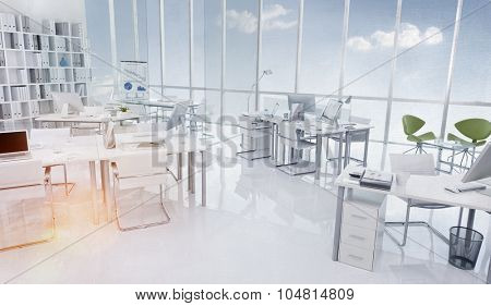 Office Building Interior White Modern Style Concept