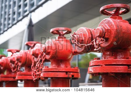 A Line Of Red Fire Hydrant