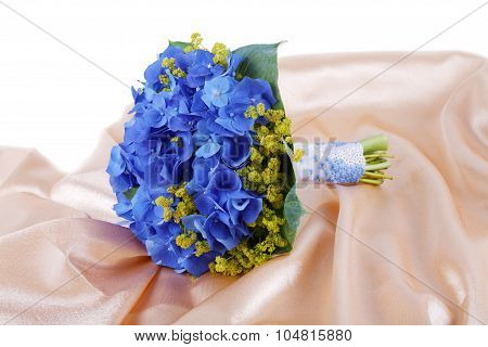 Wedding Bouquet A Golden Fabric Isolated On White Background