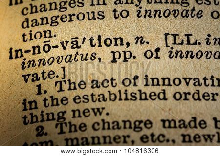 Close-up Of The Word Innovation And Its Definition