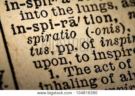 Close-up Of The Word Inspiration And Its Definition