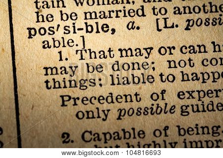 Close-up Of The Word Possible And Its Definition