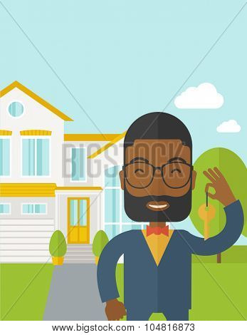 An african-american real estate agent with beard and glasses holding key on house background vector flat design illustration. Vertical layout with a text space.