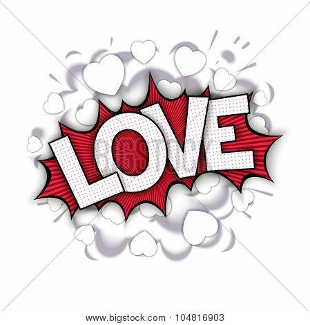 Fun art comic bang with word - LOVE