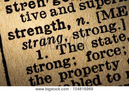 Close-up Of The Word Strength And Its Definition