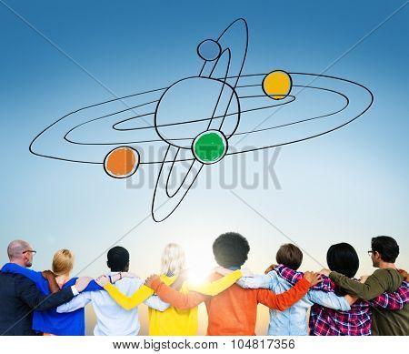 Center Saturn Universe Leadership Responsibility Concept