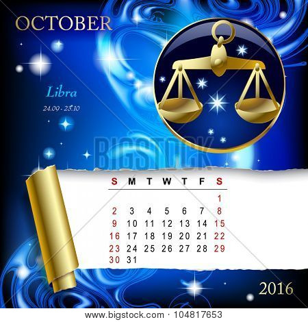 Simple monthly page of 2016 Calendar with gold zodiacal sign against the blue star space background. Design of October month page with Libra figure.