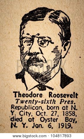 Theodore Roosevelt The 26Th President Of The United State Of America Drawing And Little Historical T