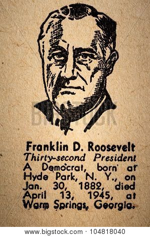 Franklin D. Roosevelt The 32Nd President Of The United State Of America Drawing And Little Historica