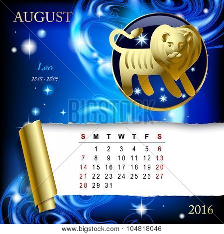 Simple monthly page of 2016 Calendar with gold zodiacal sign against the blue star space background. Design of August month page with Leo figure.