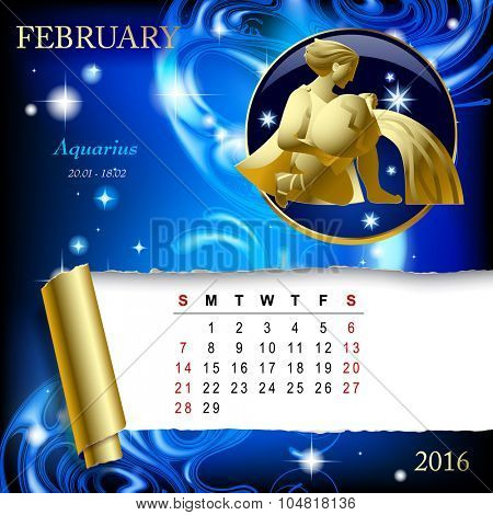 Simple monthly page of 2016 Calendar with gold zodiacal sign against the blue star space background. Design of February month page with Aquarius figure.